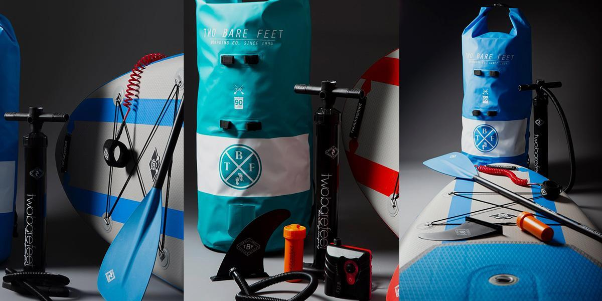 Two Bare Feet SUP board and SUP accessories including dry bag, SUP paddle and SUP pump