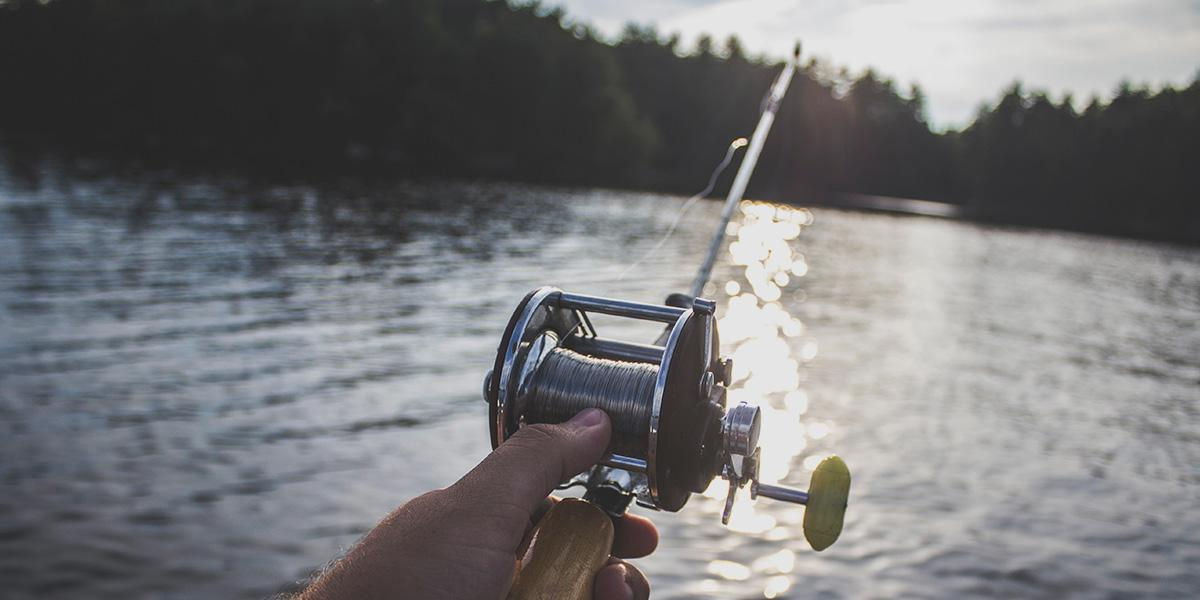 Fishing reel with line cast into water from SUP
