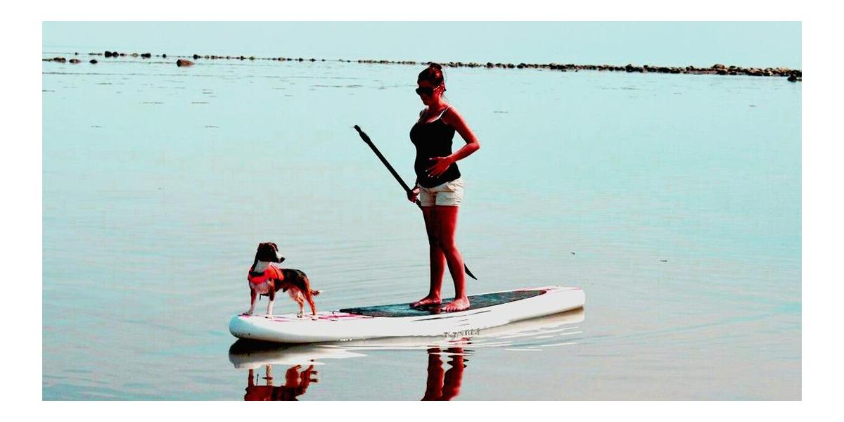 Pregnant paddleboarder on SUP holding paddle