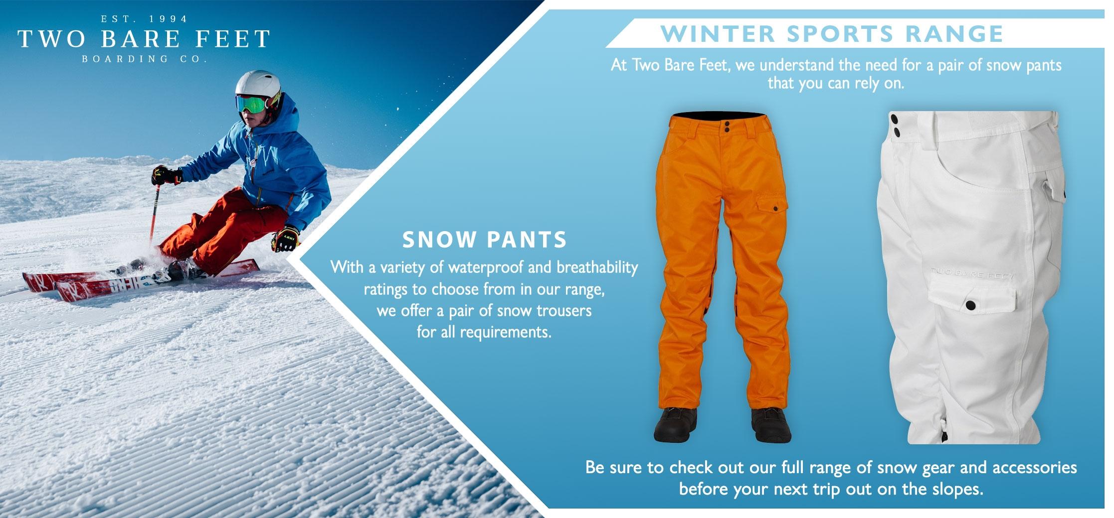 Two Bare Feet men's ski trouser infographic