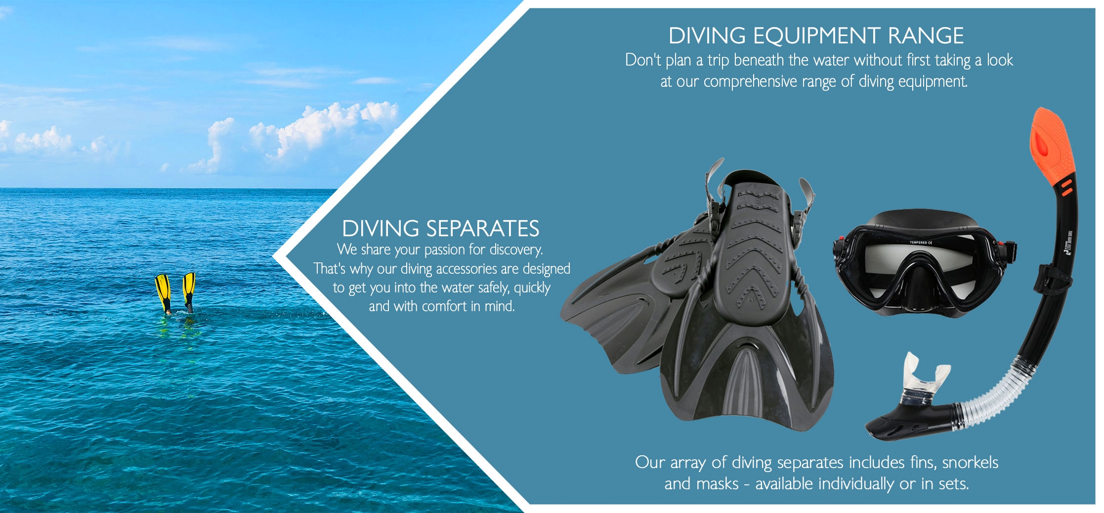 Diving separates masks snorkels fins