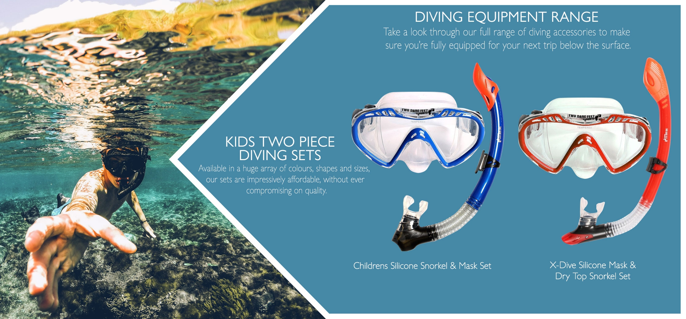 Kids 2 piece diving set products