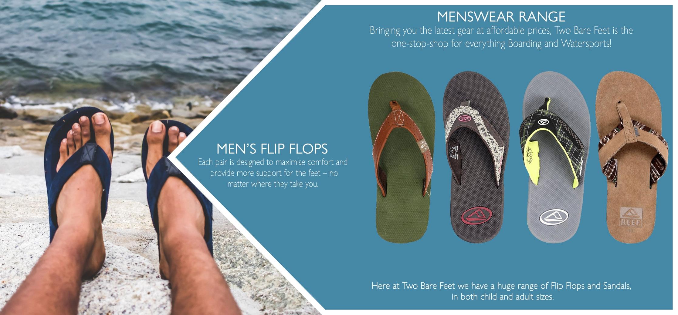 UK men's beach flip flops & sandals