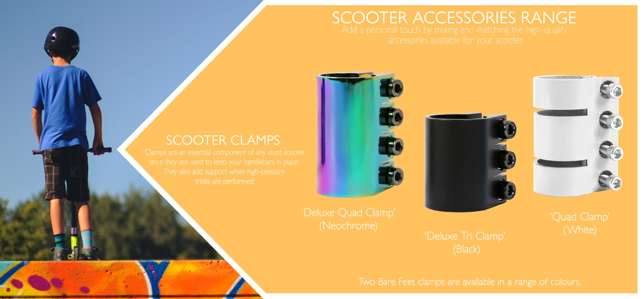 Scooter tri clamps and quad clamps