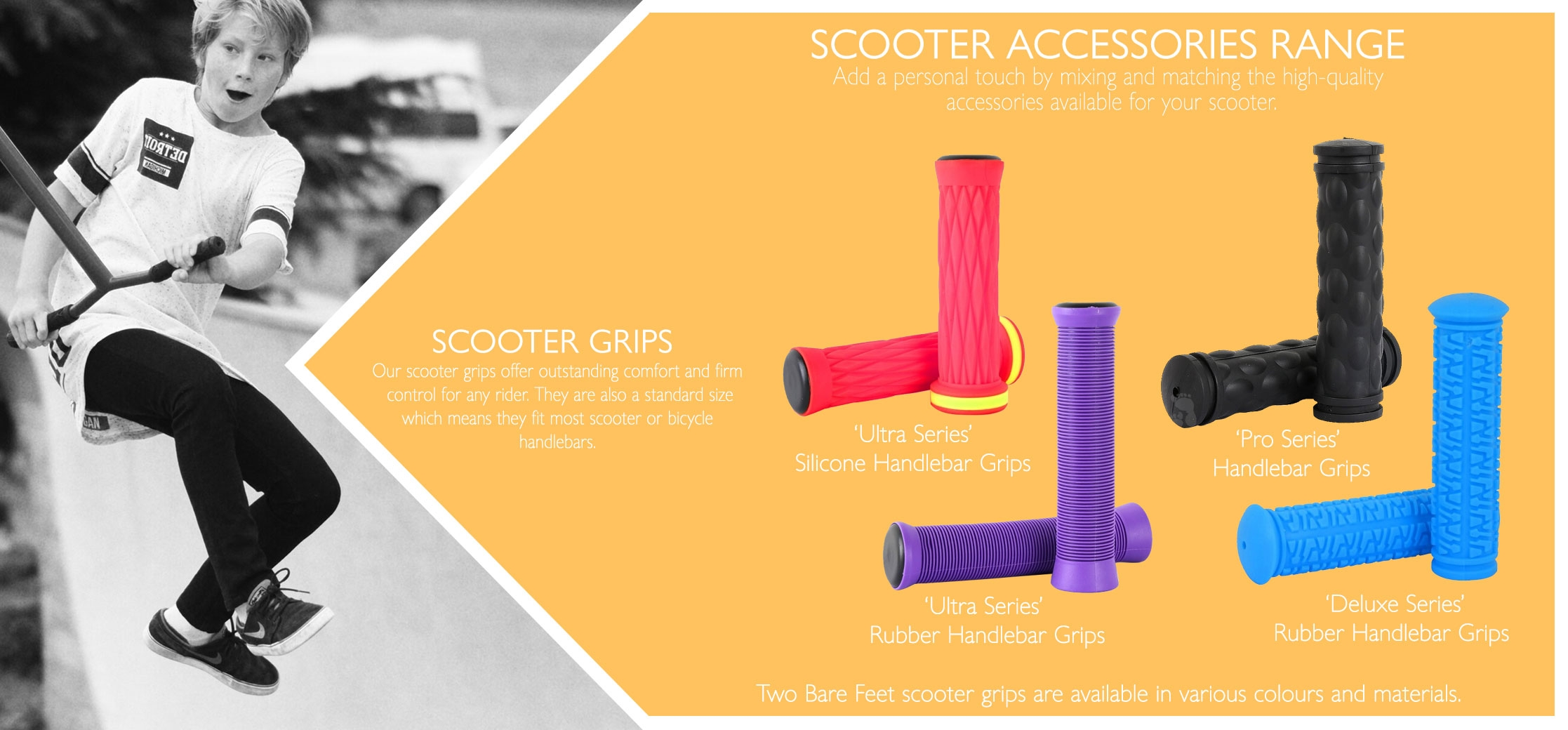 Rubber & silicone scooter handle grips