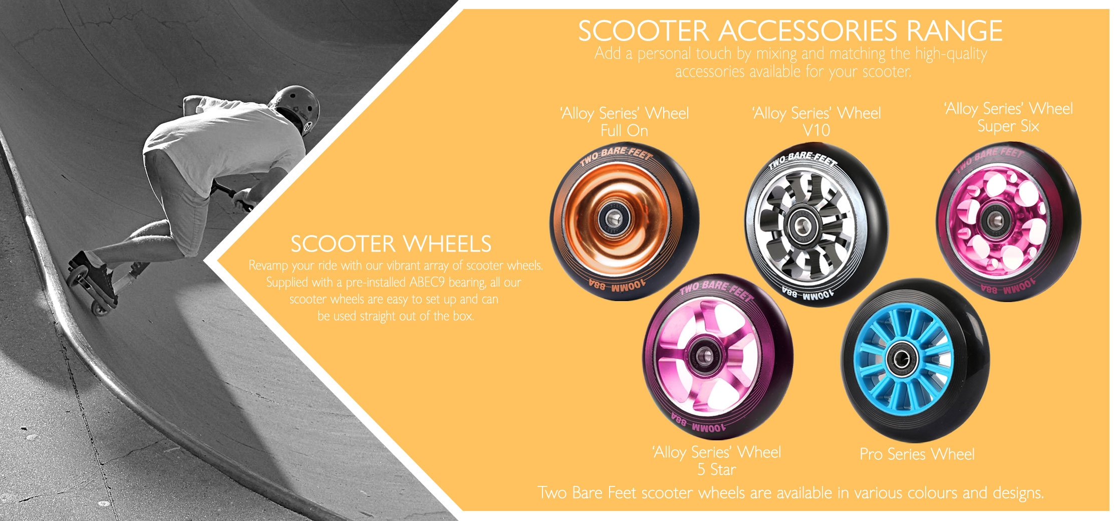 Scooter wheels with ABEC9 bearing