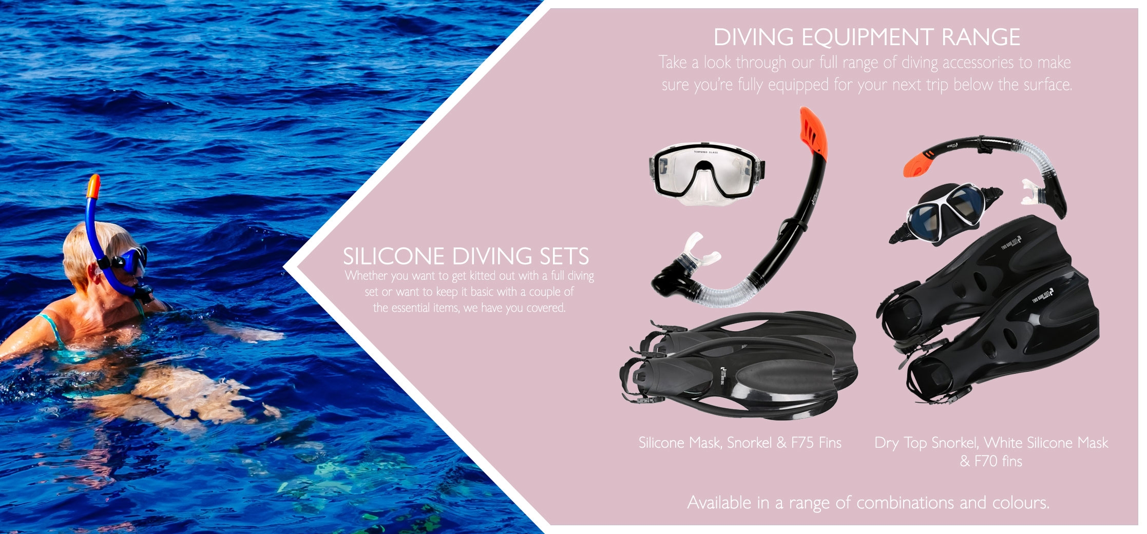 Adults 3 piece diving sets types