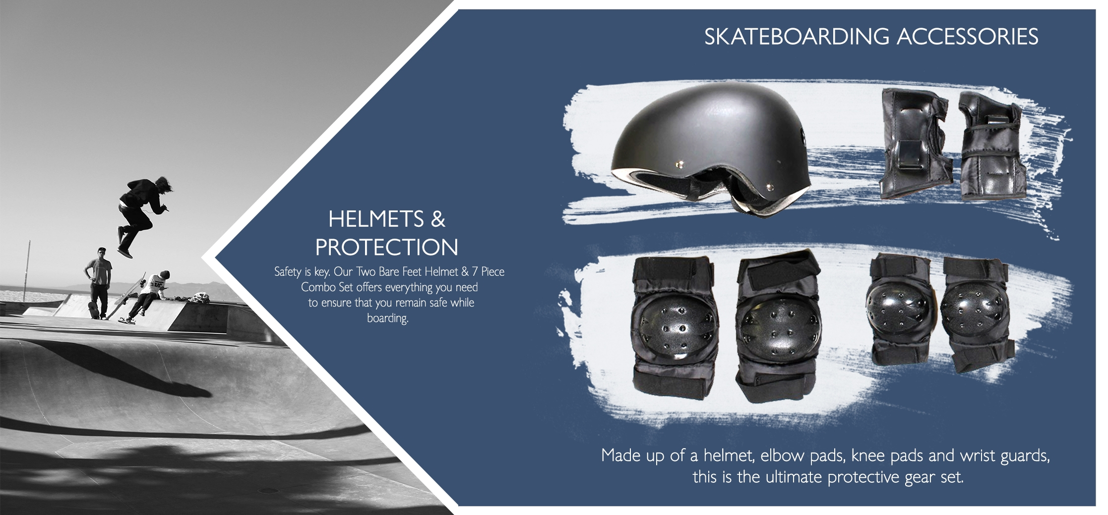 Skateboarding protection equipment helmet and pads