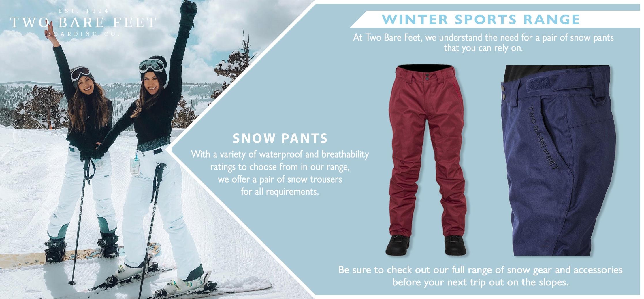 Women's snow trousers inforgraphic