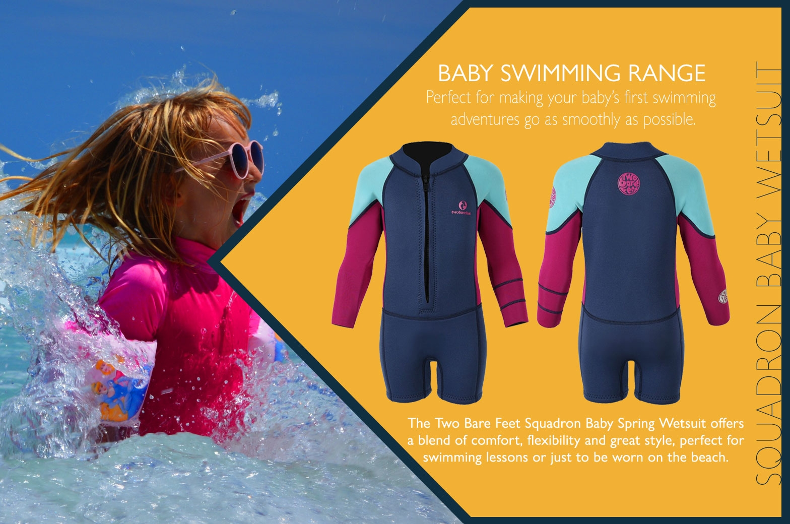 Squadron baby wetsuit features