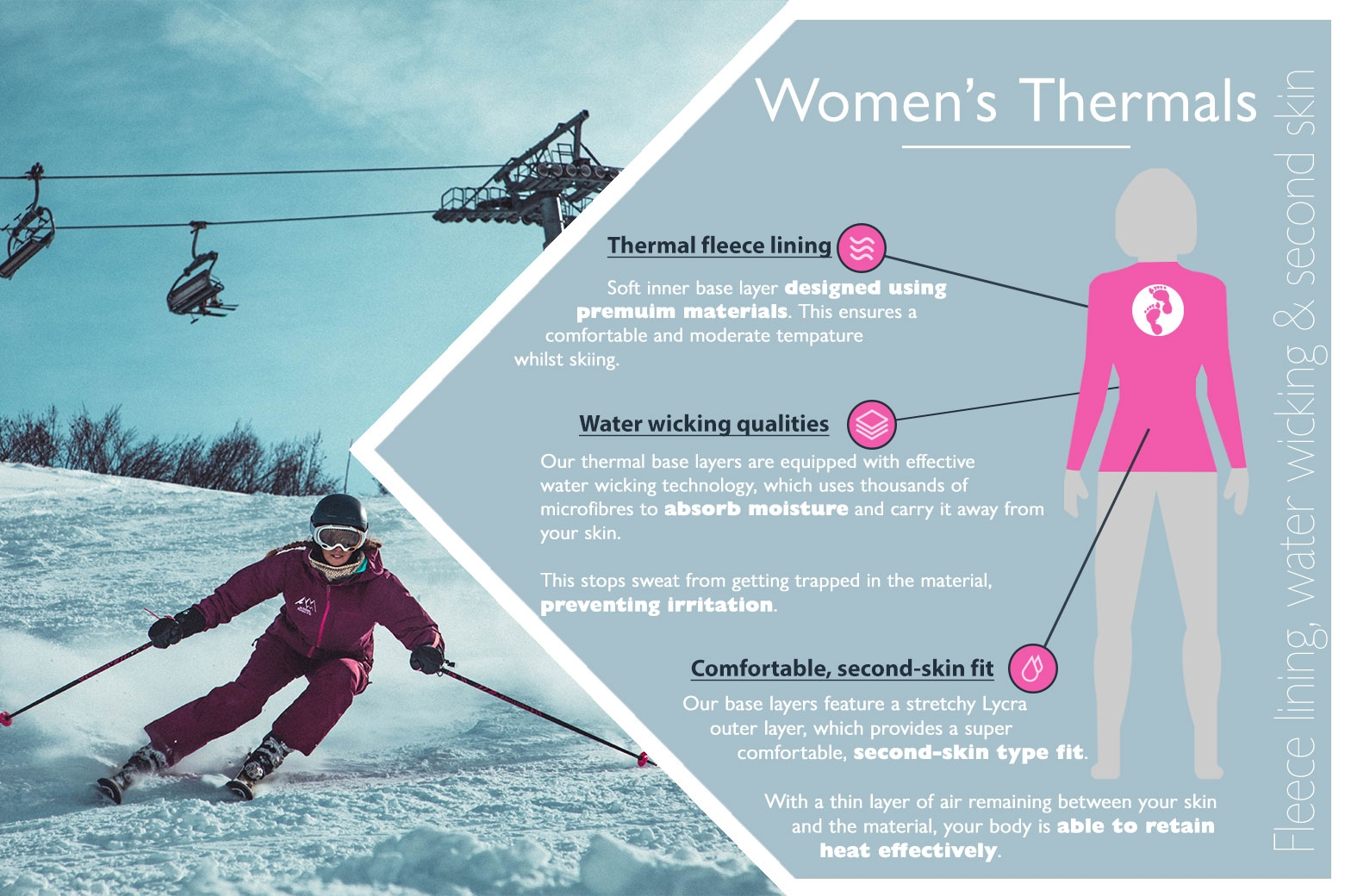 Ladies snow thermal base layers