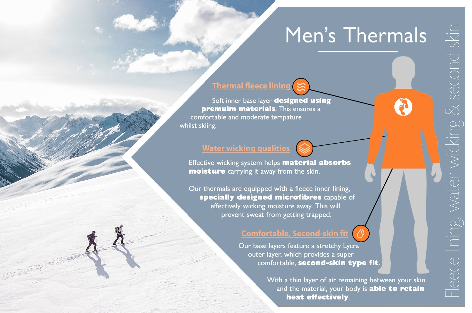 Two Bare Feet men's skiing and snowboarding thermal base layer infographic
