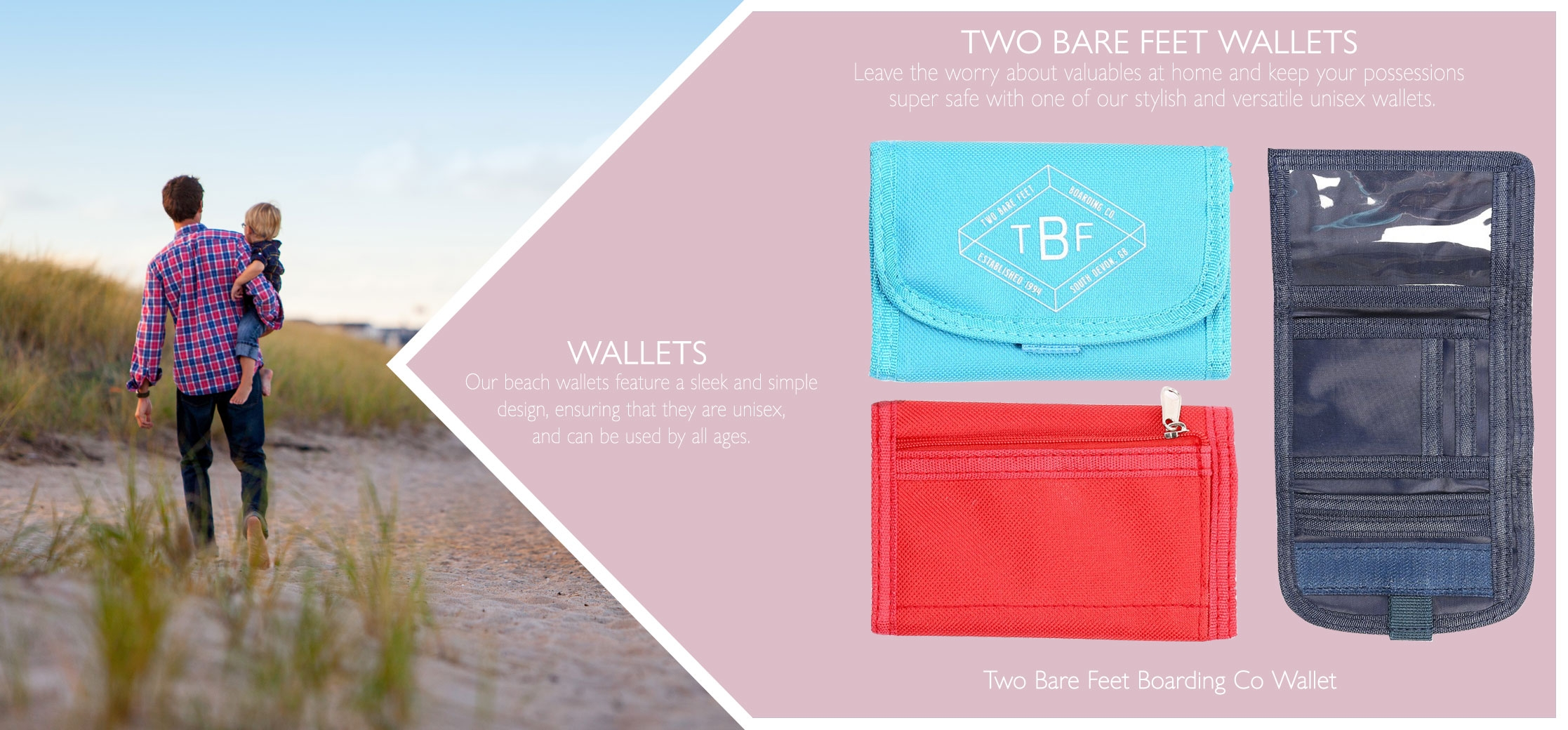 men, women and kids beach wallets