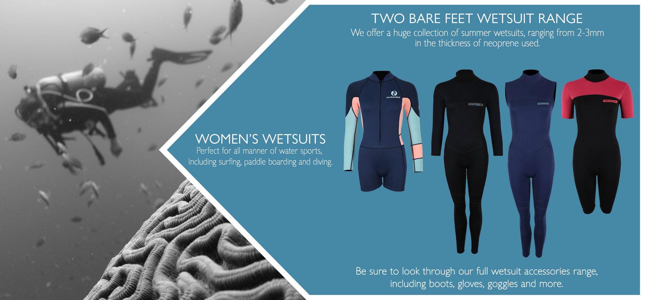 women's full length and short wetsuits