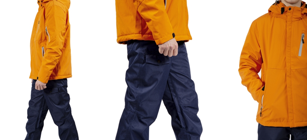 men's ski and trousers jacket set in orange and navy