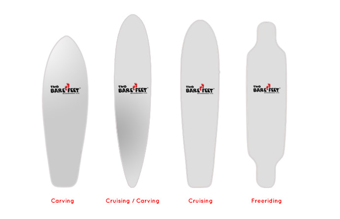 Longboard shapes, for different ride conditions you need the most appropriate board.