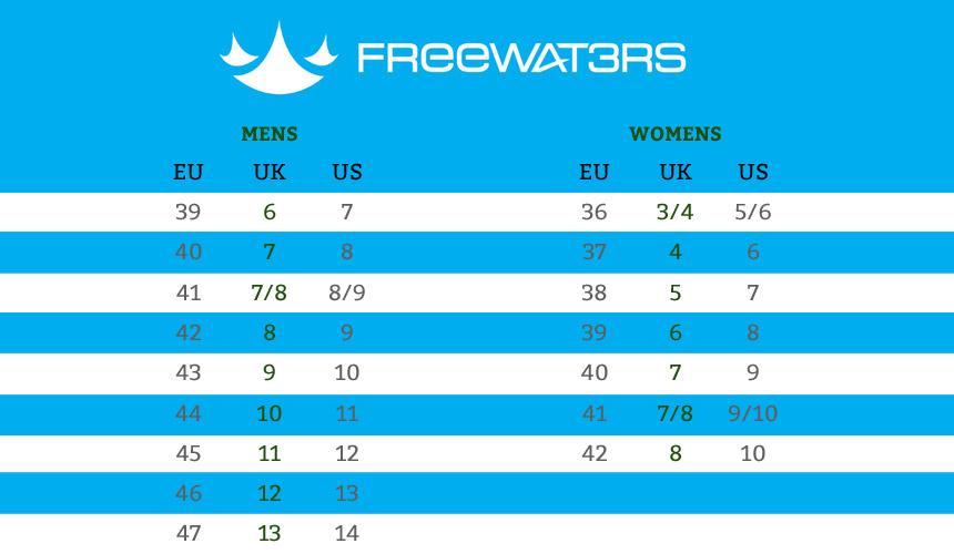Freewaters Footwear Size Chart