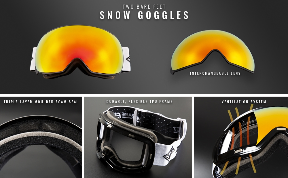 Men's snow goggles infographic