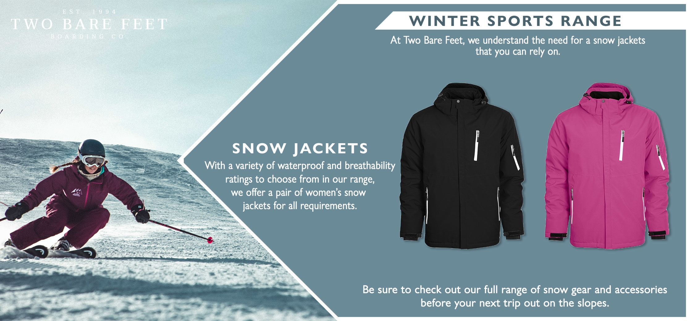 Ladies snow coat features infographic